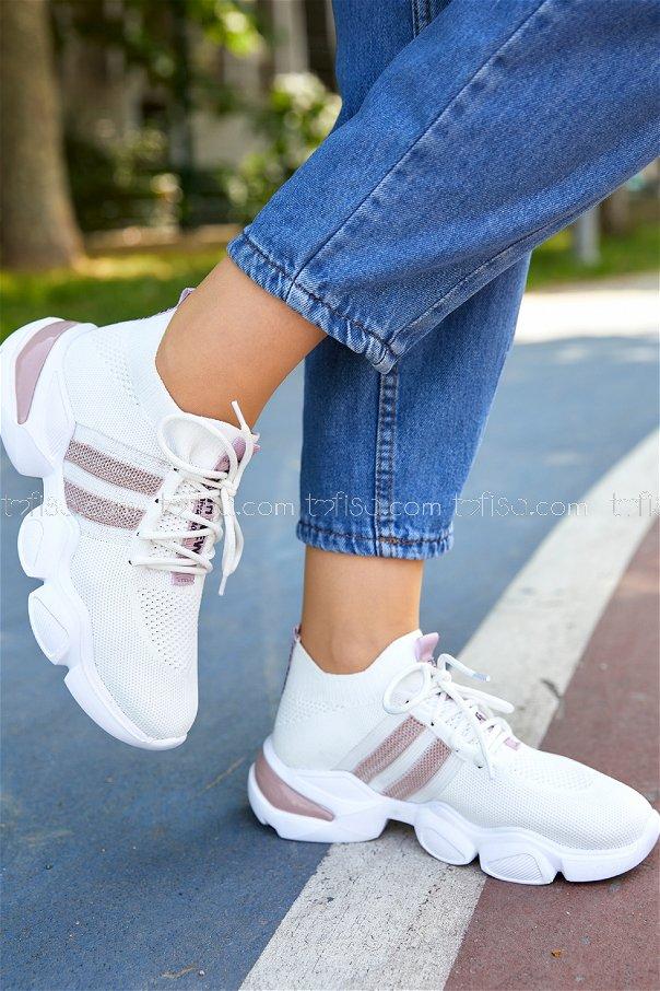 Spor Ayakkabı BEYAZ PUDRA - 20401