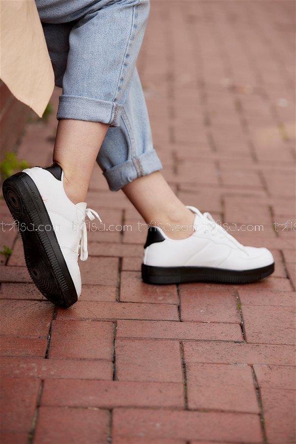 Spor Ayakkabı Beyaz Sıyah - 8688