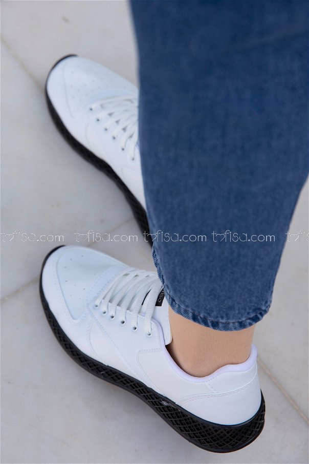 Spor Ayakkabı BEYAZ SIYAH - 8690