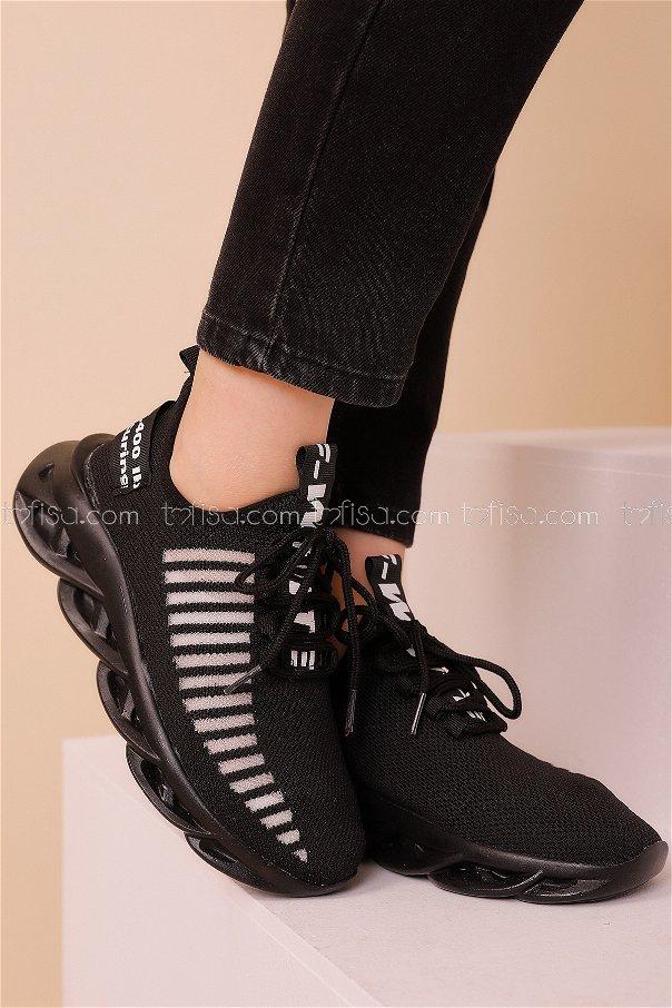 Spor Ayakkabı Sıyah Beyaz - 8687