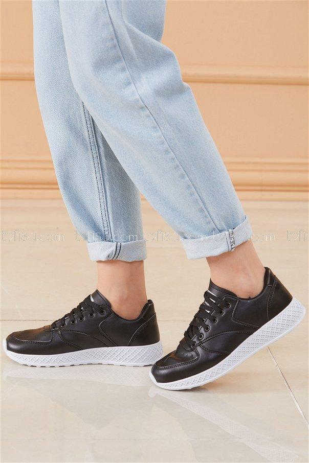 Spor Ayakkabı Sıyah Beyaz - 8690