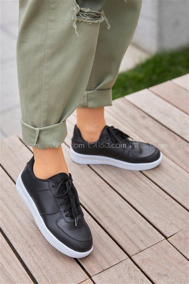 Spor Ayakkabı Sıyah Beyaz - 8714