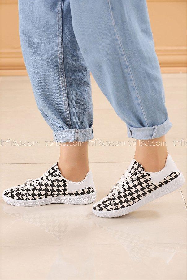 Spor Ayakkabı SIYAH BEYAZ - 8845