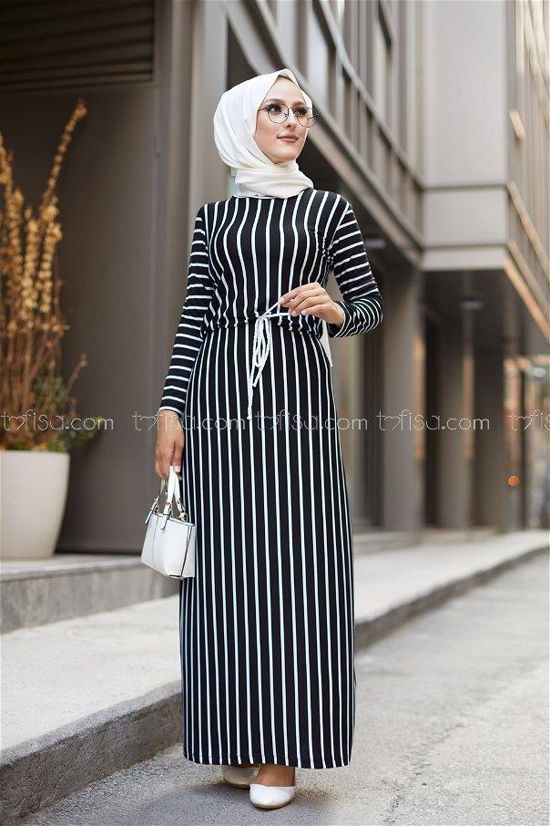 Striped Dress Black - 5273