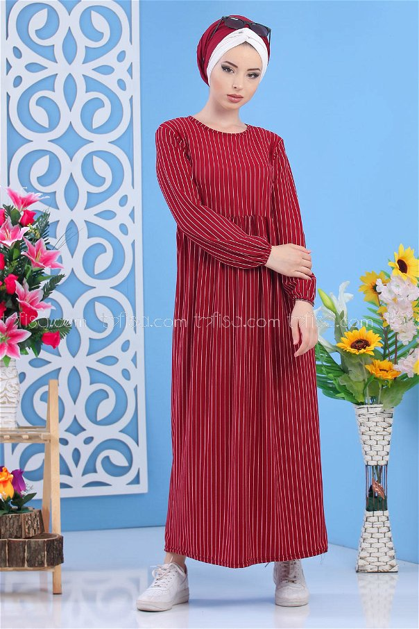 Striped Dress - Clared Red - 02 6889