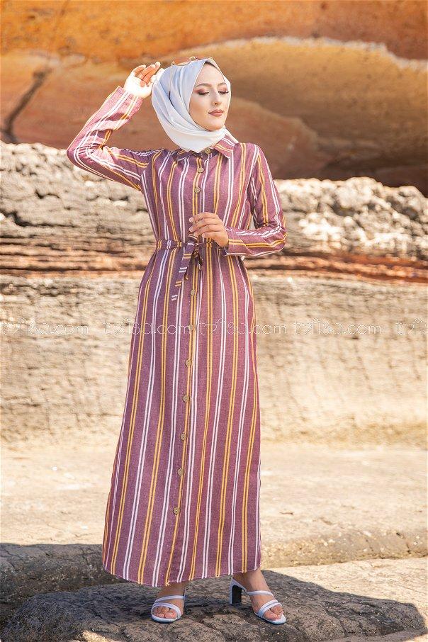 Striped Dress Claret Red - 3260