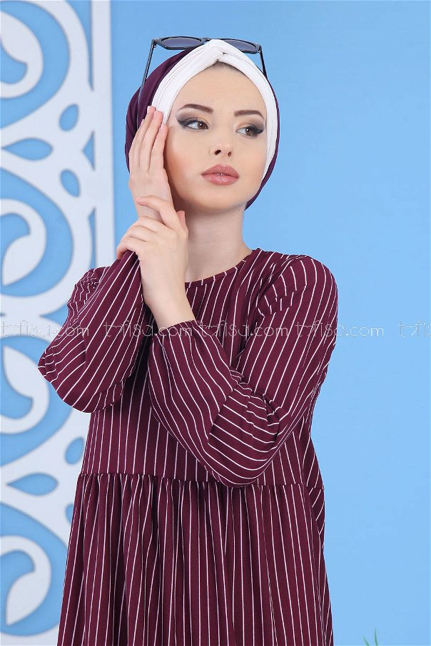 Striped Dress - Damson - 02 6889