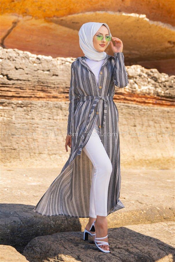 Striped Dress Dark Grey - 3260