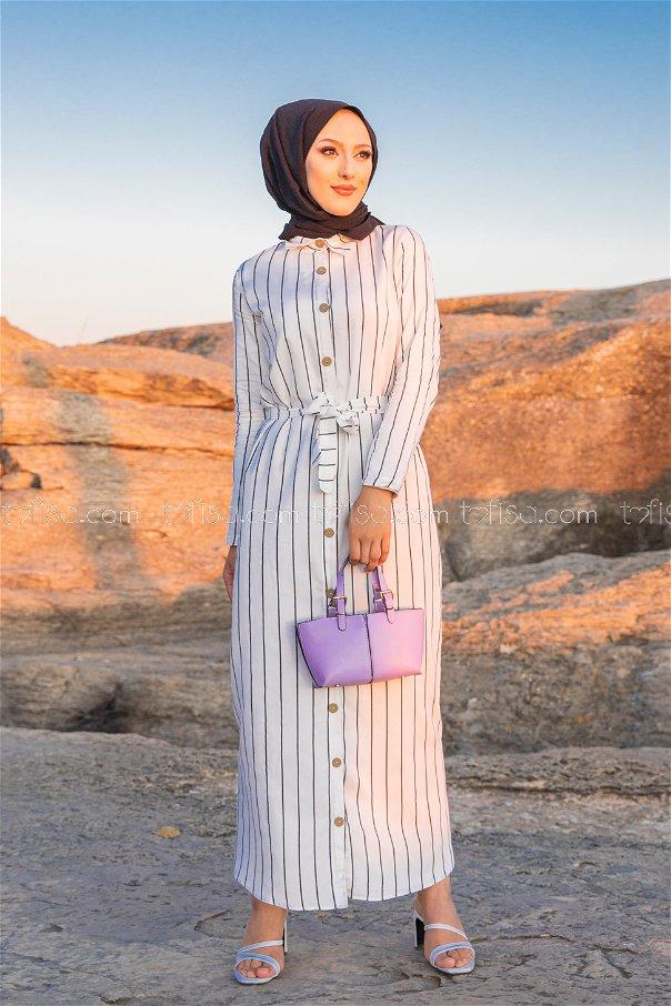 Striped Dress Ecru - 3260