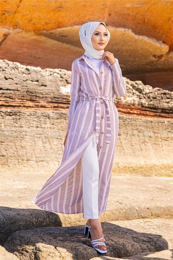 Striped Dress Ecru Claret Red - 3260