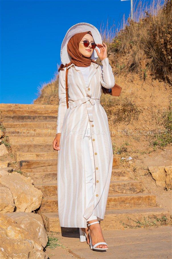 Striped Dress Ecru Mink - 3260
