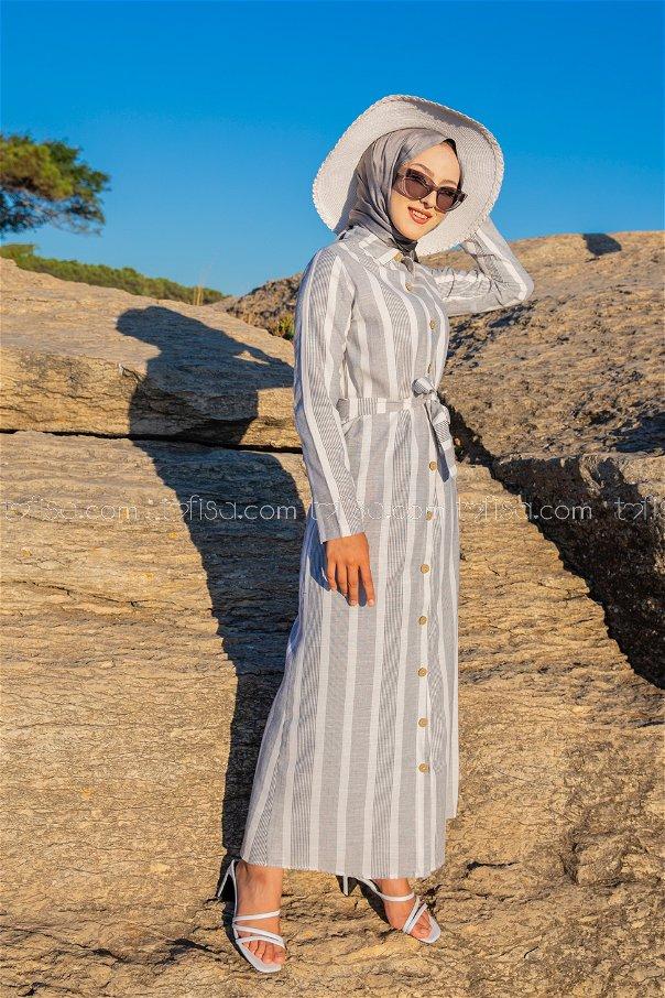 Striped Dress Ecru Navy Blue - 3260