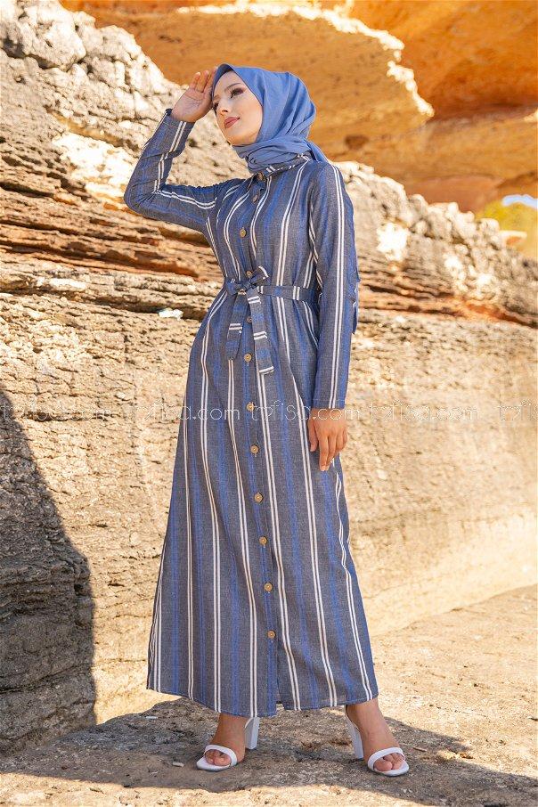 Striped Dress Ecru Sax - 3260