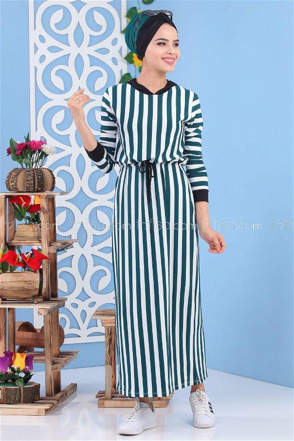 Striped Dress Emerald - 03 5135