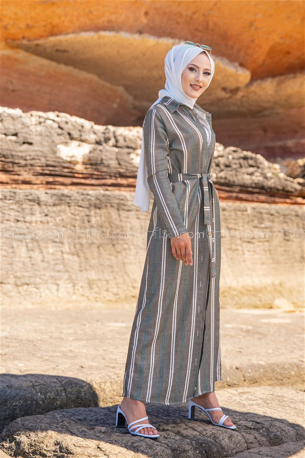 Striped Dress Green - 3260
