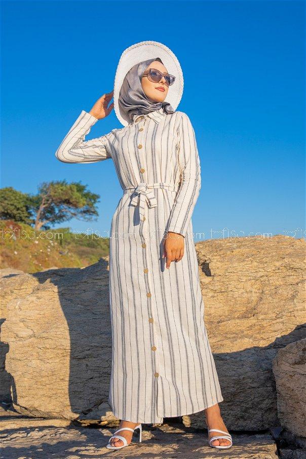 Striped Dress Grey - 3260