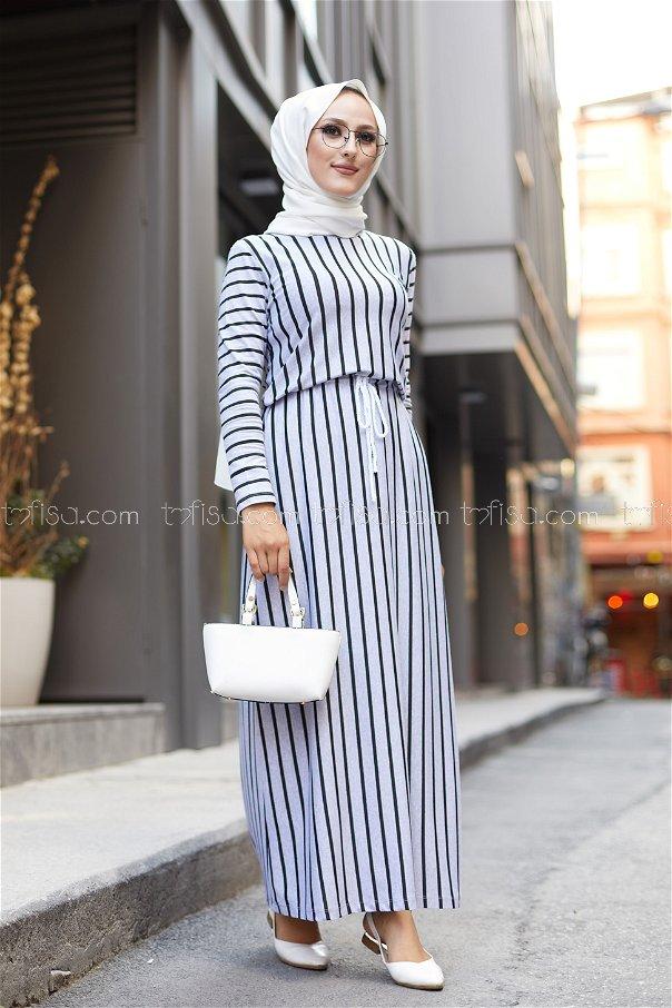 Striped Dress Grey - 5273