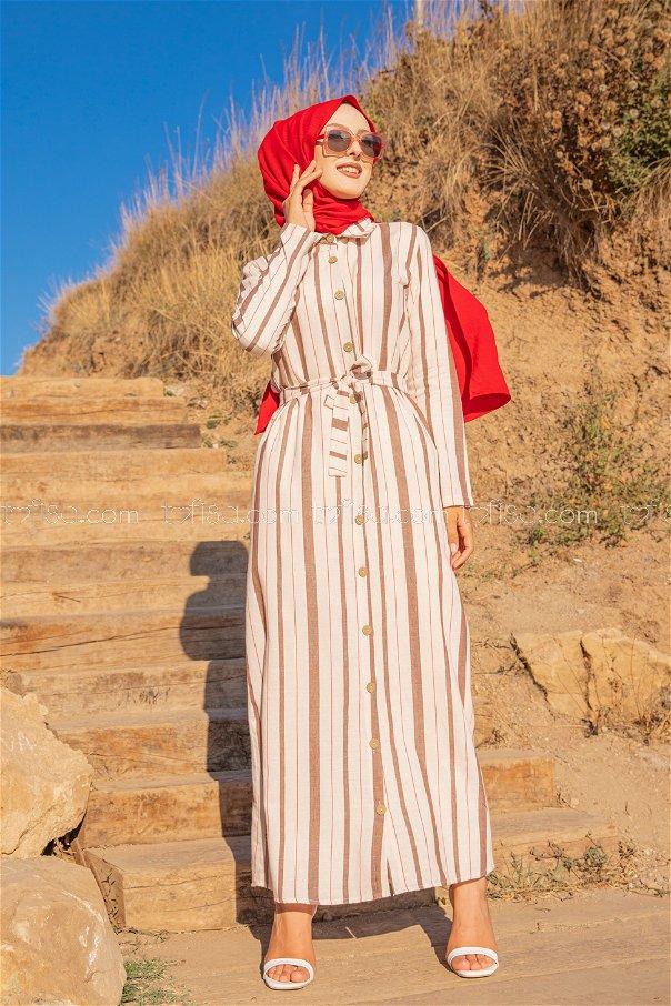 Striped Dress Khaki - 3260