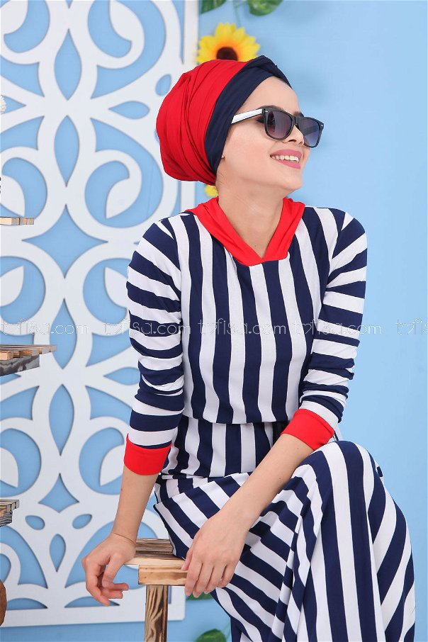 Striped Dress Navy Blue - 03 5135