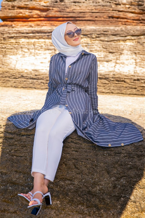 Striped Dress Navy Blue - 3260