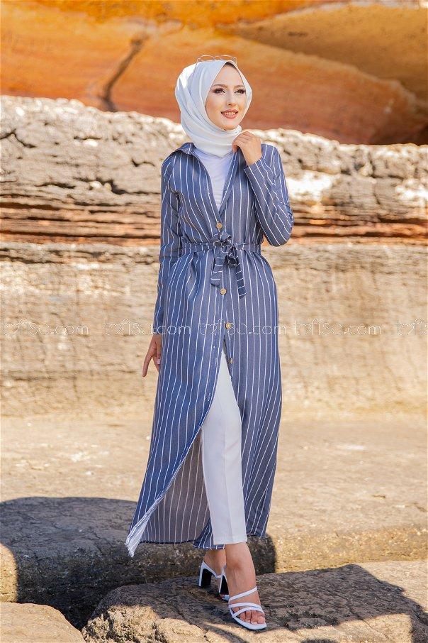 Striped Dress Navy Blue Ecru - 3260