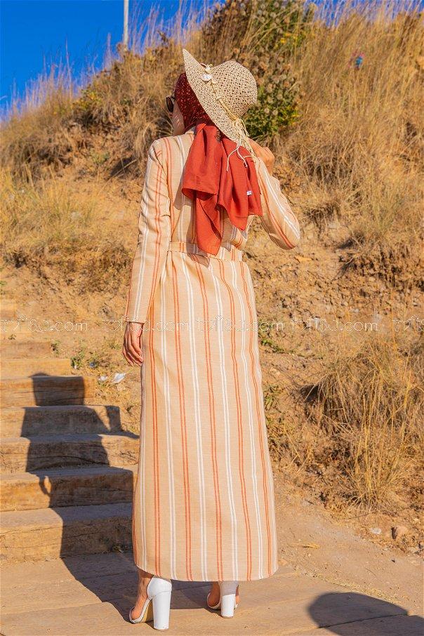 Striped Dress Tan - 3260