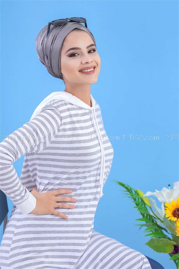 Striped Hooded Tunic gray 03 5152-