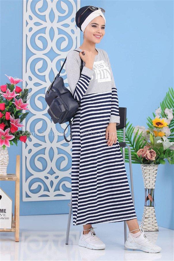 Striped Printed Dress - navy blue gray - 02 5141