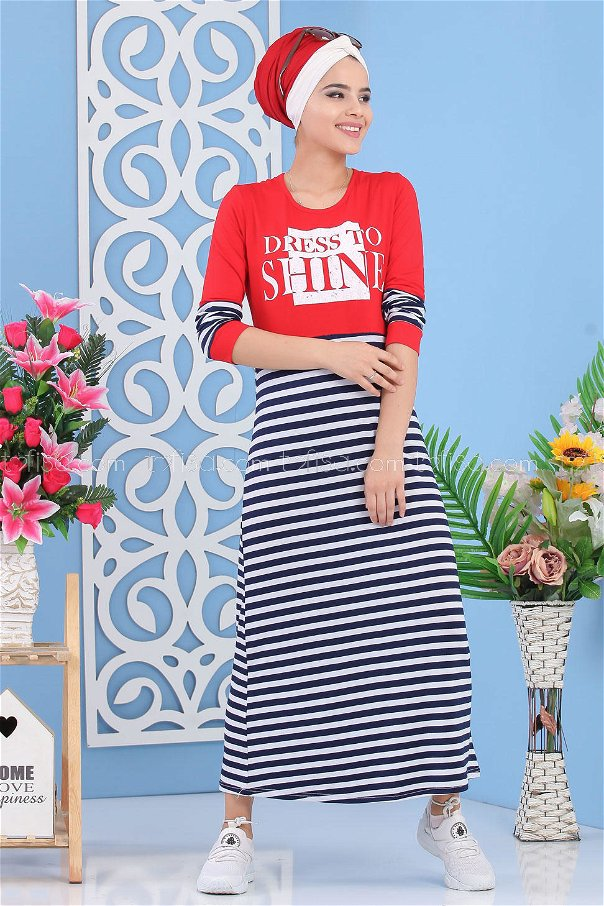 Striped Printed Dress - Navy Blue-Red - 02 5141