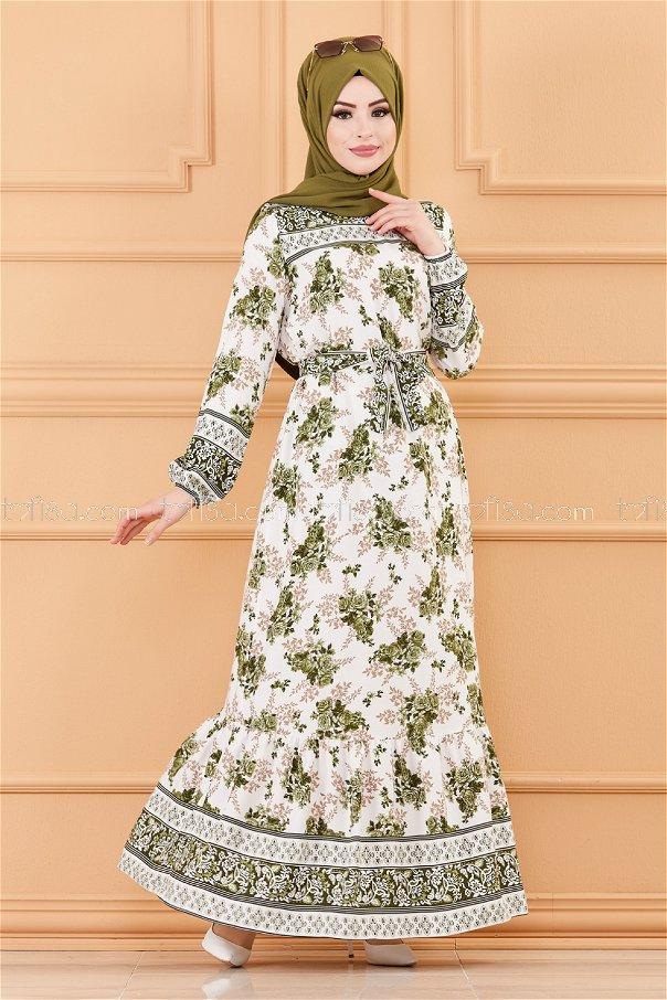 Sulu Desenlı Elbise BEYAZ HAKI - 20176