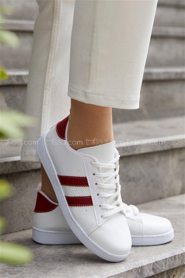 Sunı Derı Ayakkabı BEYAZ KIRMIZI - 20144