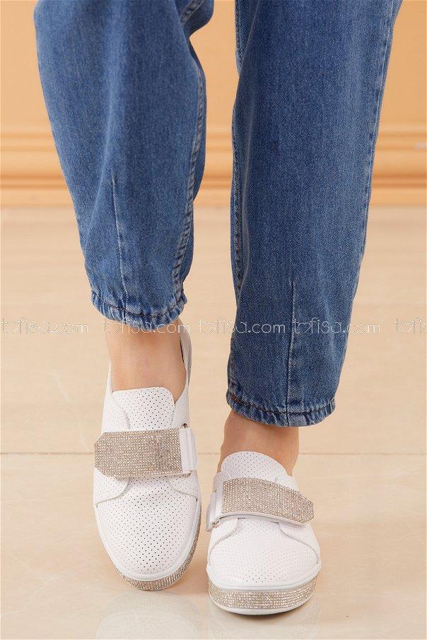 Taslı Cırtcırt Ayakkabı BEYAZ - 20527