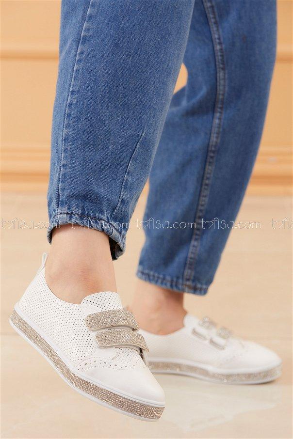 Taslı Cırtcırt Ayakkabı BEYAZ - 20528