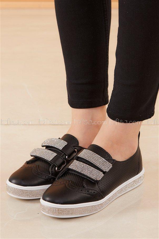 Taslı Cırtcırt Ayakkabı SIYAH - 20528