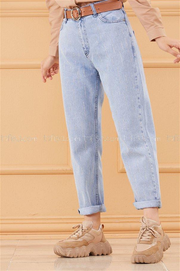 Taslı Kot Pantolon BUZ MAVISI - 20614