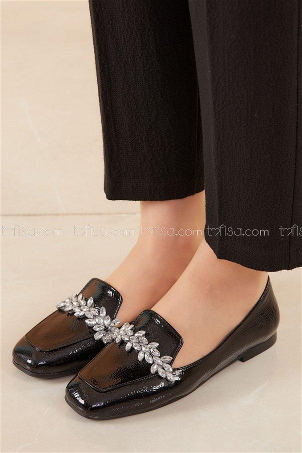 Taslı Parlak Babet Ayakkabı SIYAH - 20591