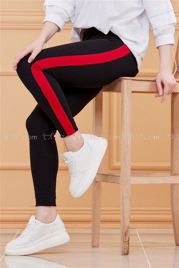 Thick Striped Tights Red - 4146