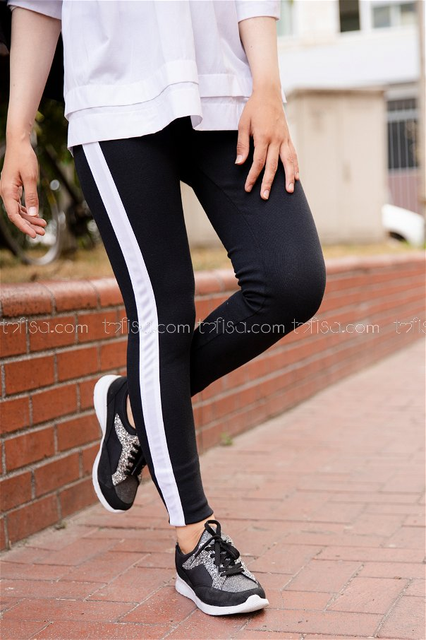 Thick Striped Tights White - 4146