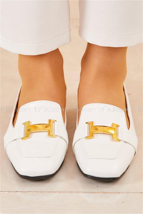 Tokalı Babet Ayakkabı BEYAZ - 20418