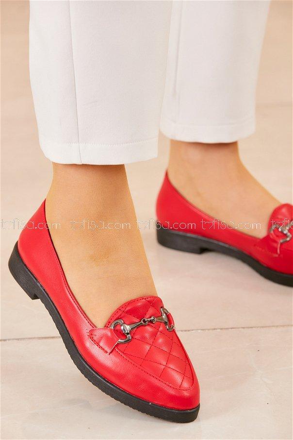Tokalı Babet Ayakkabı KIRMIZI - 20411