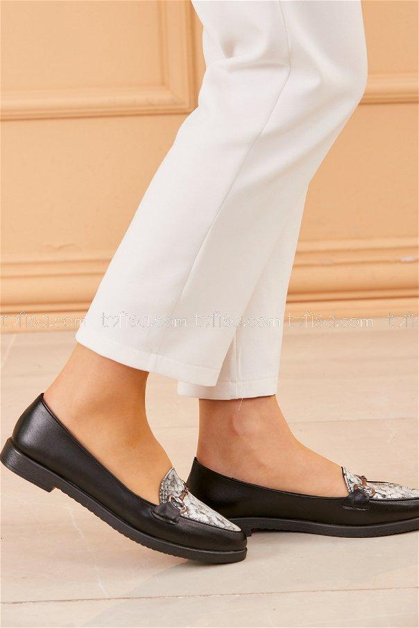Tokalı Babet Ayakkabı SIYAH BEYAZ - 20419