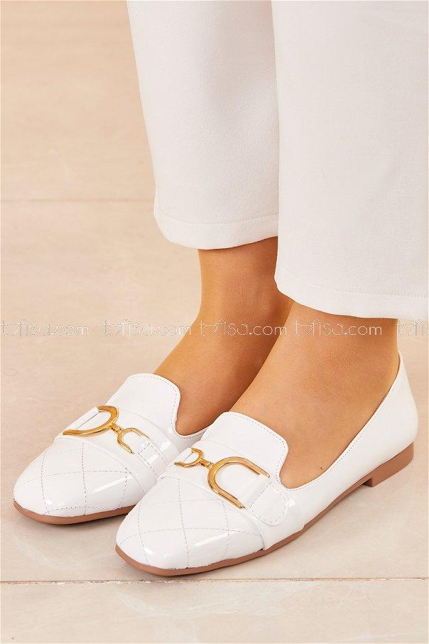 Tokalı Parlak Babet Ayakkabı BEYAZ - 20414