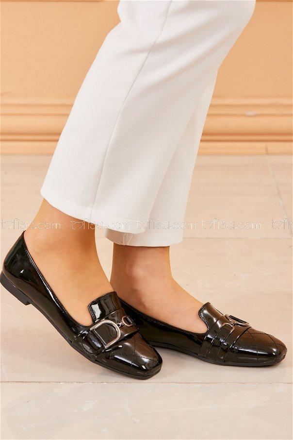 Tokalı Parlak Babet Ayakkabı SIYAH - 20414