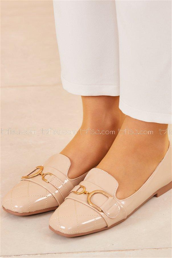 Tokalı Parlak Babet Ayakkabı VIZON - 20414