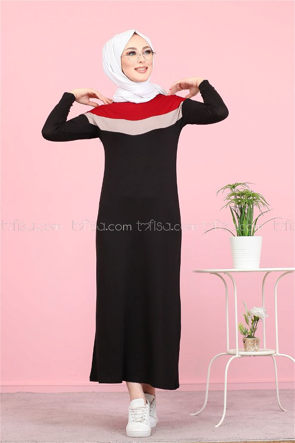 Topped Dress Claret Red - 3081