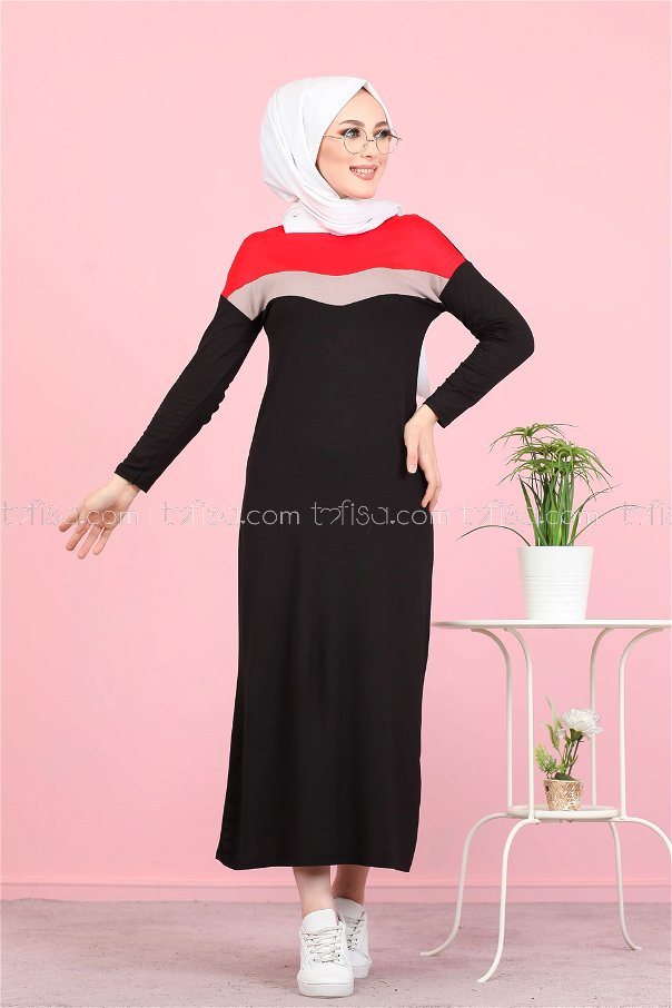 Topped Dress Red - 3081