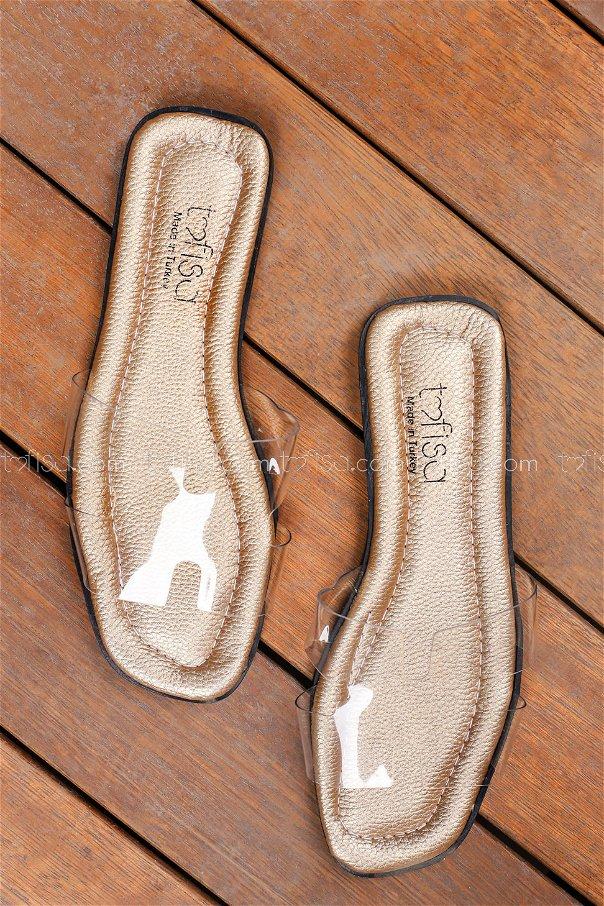 Transparent Hermes Slippers Gold - 0101