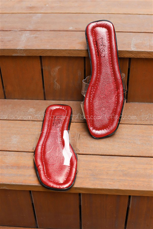 Transparent Hermes Slippers Red - 0101