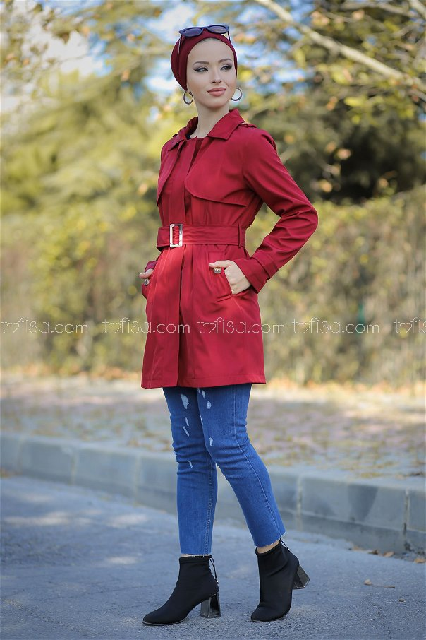 Trench Coat Lined claret red - 1294