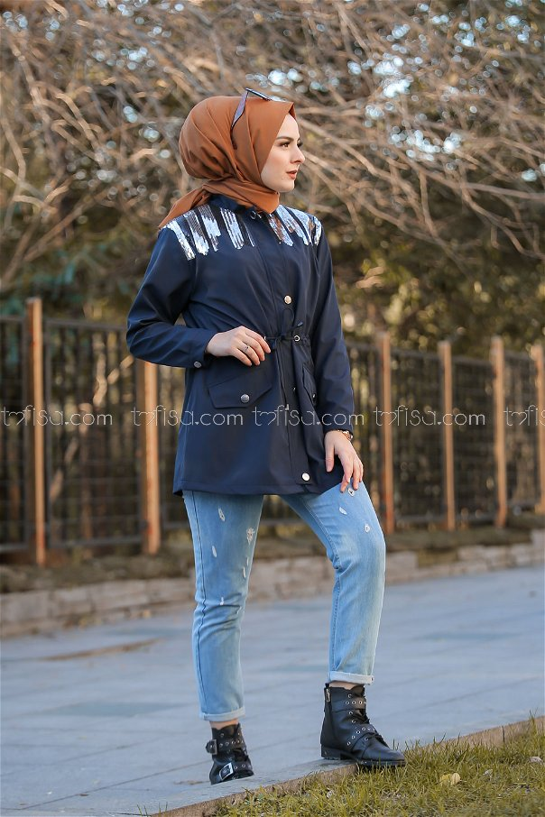Trench Coat Scaly navy blue - 02 1301